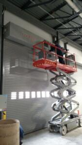 Commercial roll up doors in Cleveland being installed